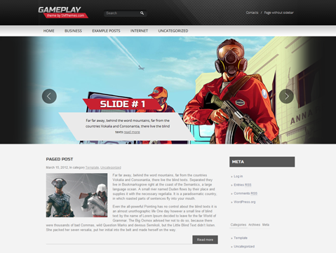 Gameplay Free magazine WordPress Theme