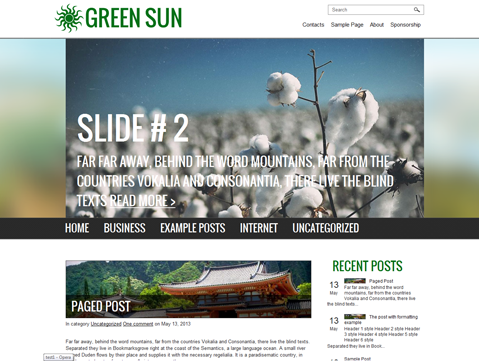 GreenSun Free WordPress Theme