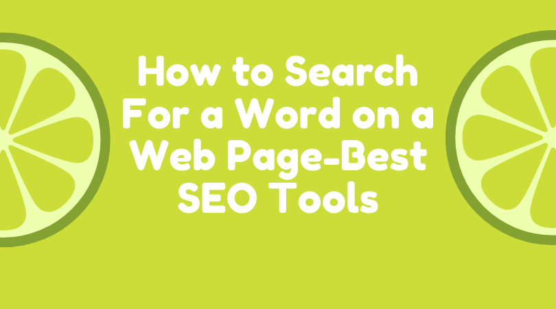 How To Search For A Word On A Web Page - Best SEO Tools