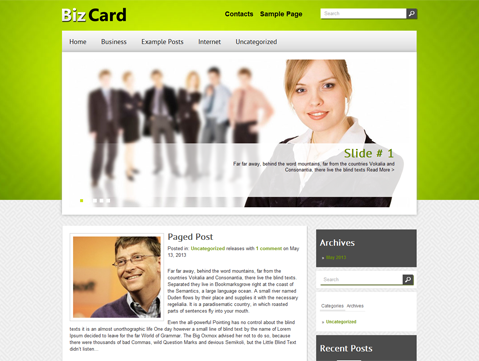BizCard WordPress Theme