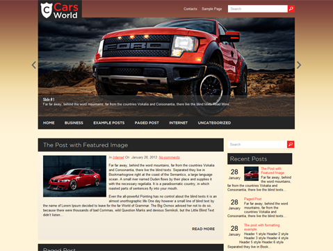 CarsWorld Free WordPress Theme