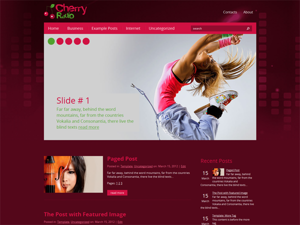 CherryRadio Free WordPress Theme
