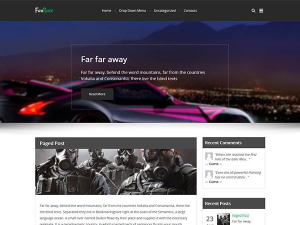 FanRace Free WordPress Theme