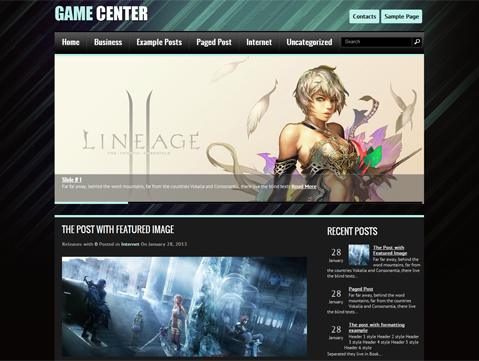 GameCenter Free WordPress Theme