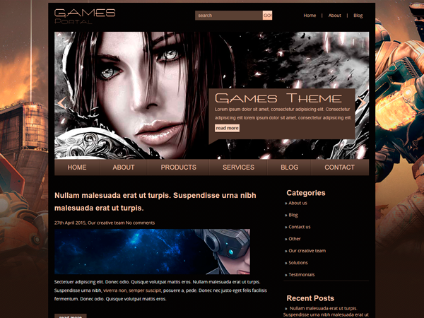 GamesPortal Free WordPress Theme