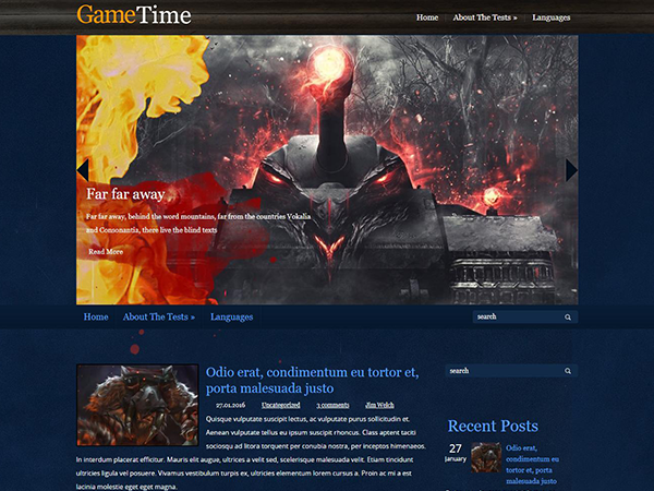 GameTime Free WordPress Theme