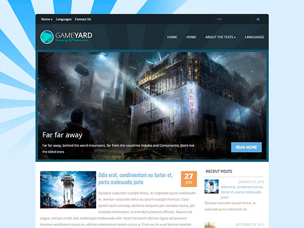 GameYard Free WordPress Theme