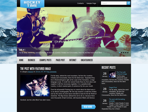 HockeyTime Free WordPress Theme