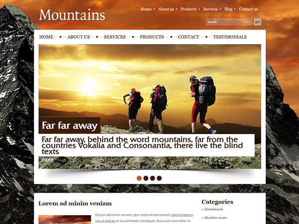 Mountains Free WordPress Theme