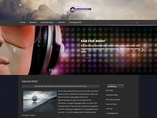 MusicSplash WordPress Theme