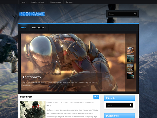 NeonGame Free WordPress Theme