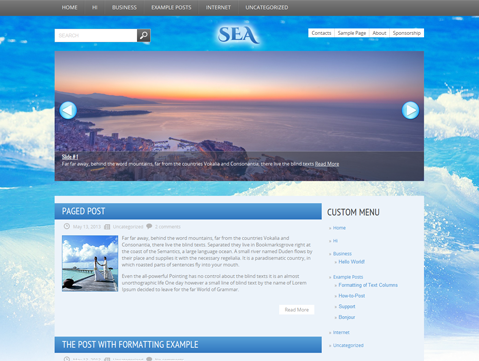 Sea Free WordPress Theme