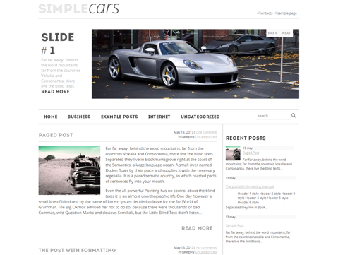 SimpleCars Free WordPress Theme