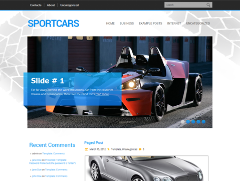 SportCars Free WordPress Theme